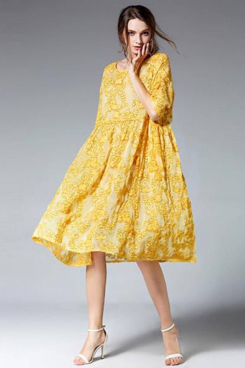 FLOWER YELLOW DRESS