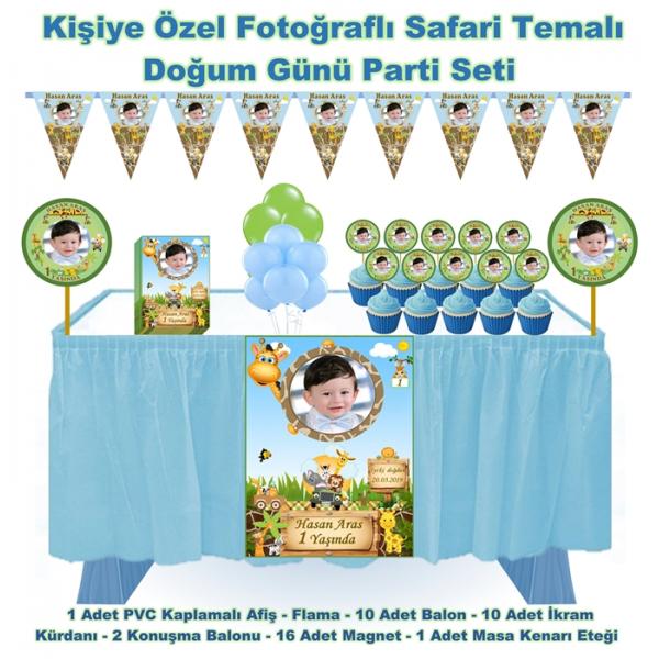 Safari Doğum Günü Parti Seti Masa etekli