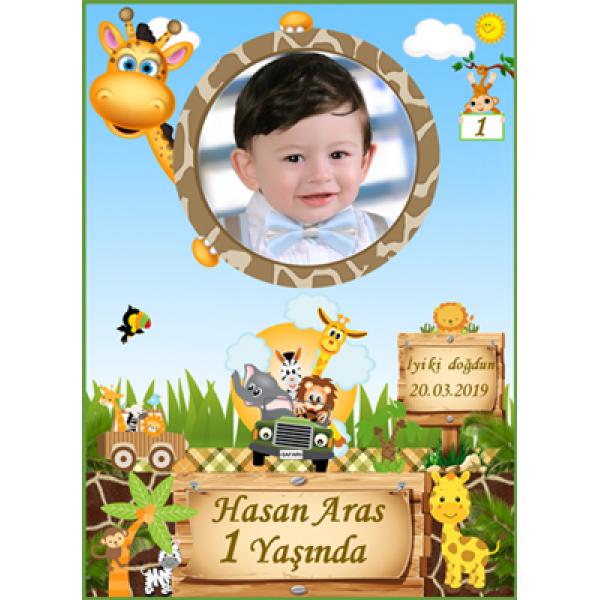 Safari Temalı Doğum Günü Magnet  Safari Temalı Doğum Günü Magnet