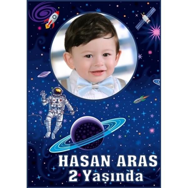 Uzay Temalı Doğum Günü Magnet  Uzay Temalı Doğum Günü Magnet