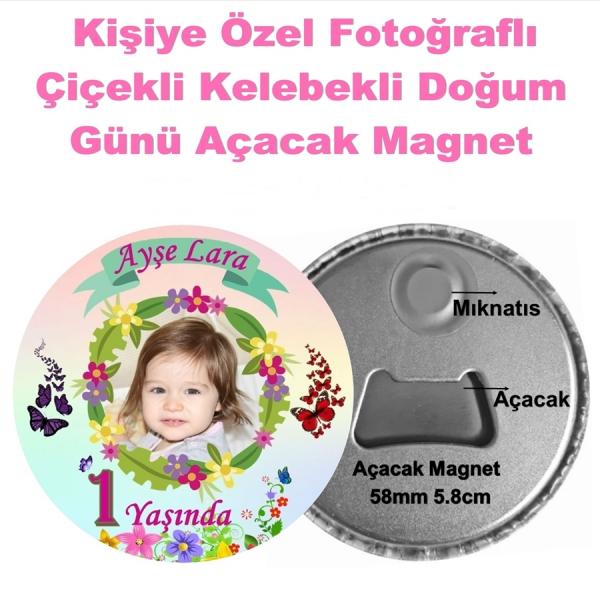 Çiçekli Doğum Günü Açacak Magnet  Çiçekli Doğum Günü Açacak Magnet