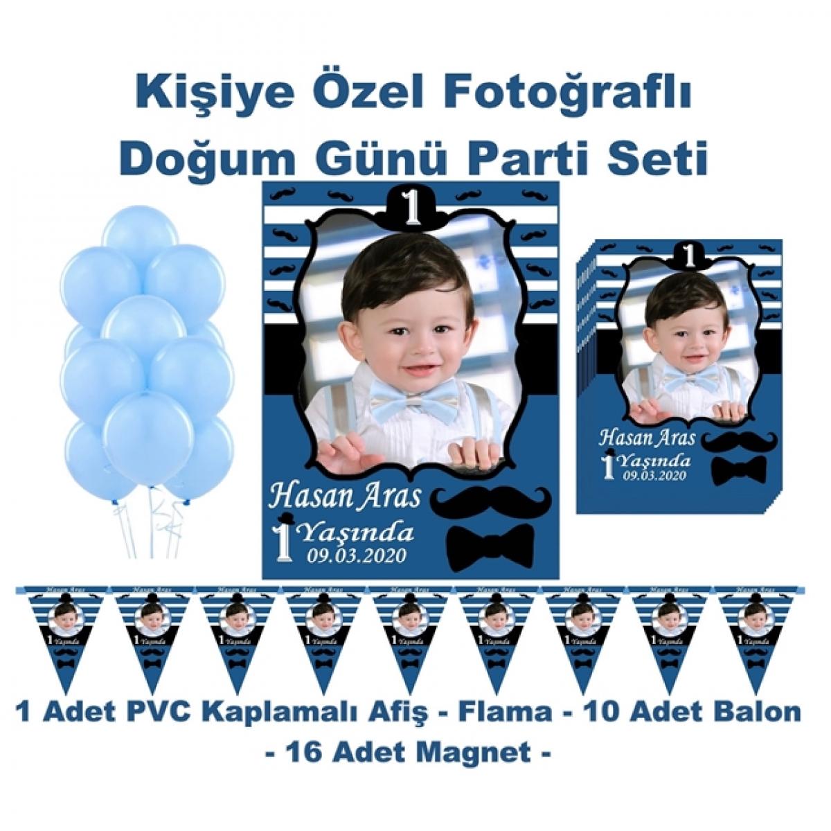 Bıyık Papyon Doğum Günü Parti Seti