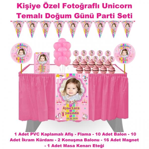 Unicorn Temalı Doğum Günü Parti Seti Masa etekli  Unicorn Temalı Doğum Günü Parti Seti Masa etekli
