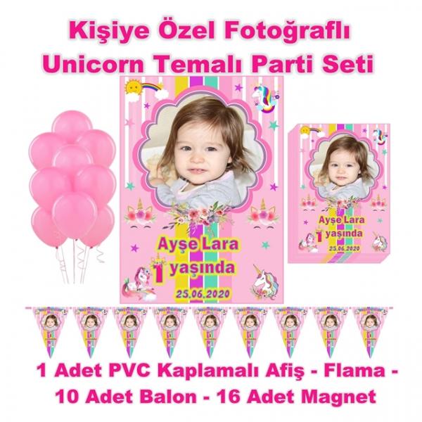 Unicorn Temalı Doğum Günü Parti Seti Kişiye Özel Fotoğraflı