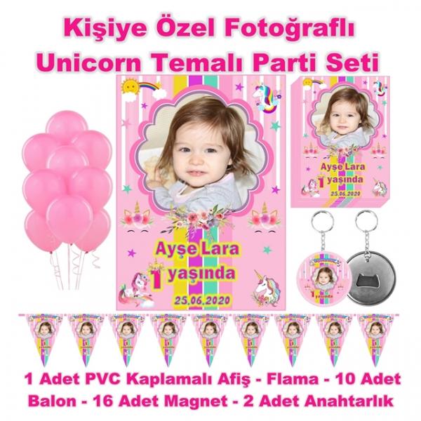 Unicorn Temalı Doğum Günü Parti Seti Kişiye Özel Fotoğraflı Unicorn Temalı Doğum Günü Parti Seti Kişiye Özel Fotoğraflı