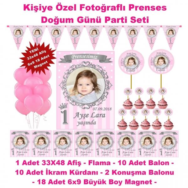 Prenses Doğum Günü Parti Seti Kişiye Özel Hediye Seti (33x48 Afiş-Flama-6x9 18 Magnet-Balon)