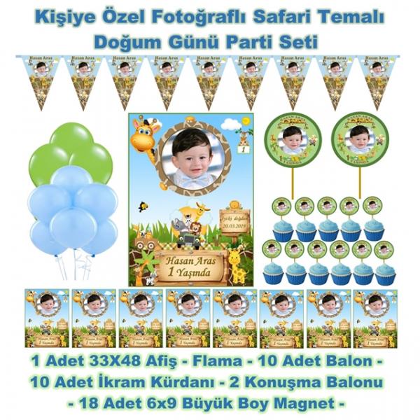 Safari Doğum Günü Parti Seti Kişiye Özel Hediye Seti (33x48 Afiş-Flama-6x9 18 Magnet-Balon)