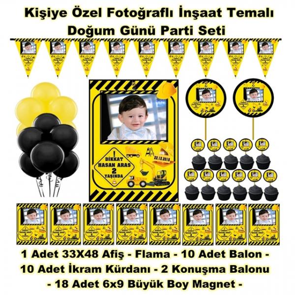 İnşaat Temalı Doğum Günü Parti Seti Kişiye Özel Hediye Seti (33x48 Afiş-Flama-6x9 18 Magnet-Balon)