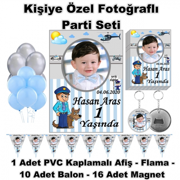 Doğum Günü Parti Seti Kişiye Özel Fotoğraflı Hediye