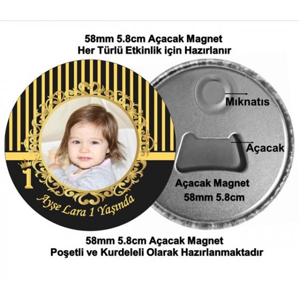 Siyah Gold Temalı Doğum Günü Açacak Magnet  Siyah Gold Temalı Doğum Günü Açacak Magnet