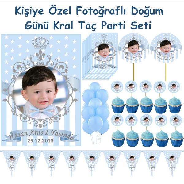 Kral Taç Temalı Doğum Günü Parti Seti Kişiye Özel Fotoğraflı  Kral Taç Temalı Doğum Günü Parti Seti Kişiye Özel Fotoğraflı