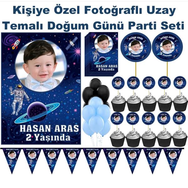 Uzay Temalı Doğum Günü Parti Seti Kişiye Özel Fotoğraflı  Uzay Temalı Doğum Günü Parti Seti Kişiye Özel Fotoğraflı