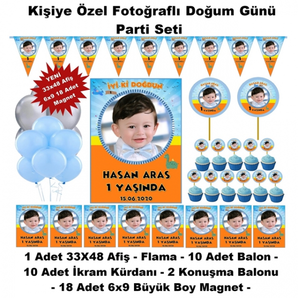Doğum Günü Parti Seti Kişiye Özel Hediye Seti (33x48 Afiş-Flama-6x9 18 Magnet) -
