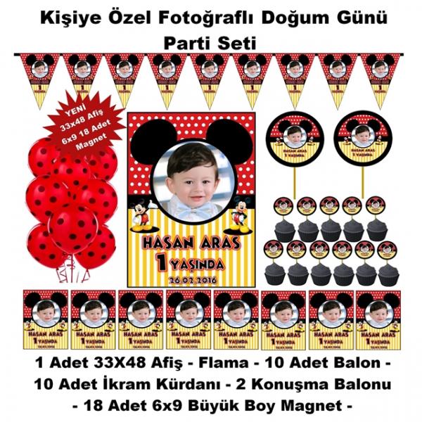 Mickey Mouse Doğum Günü Parti Seti Kişiye Özel Hediye Seti (33x48 Afiş-Flama-6x9 18 Magnet)