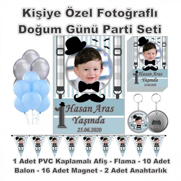 Bıyık Papyon Temalı Doğum Günü Parti Seti Kişiye Özel Fotoğraflı  Bıyık Papyon Temalı Doğum Günü Parti Seti Kişiye Özel Fotoğraflı