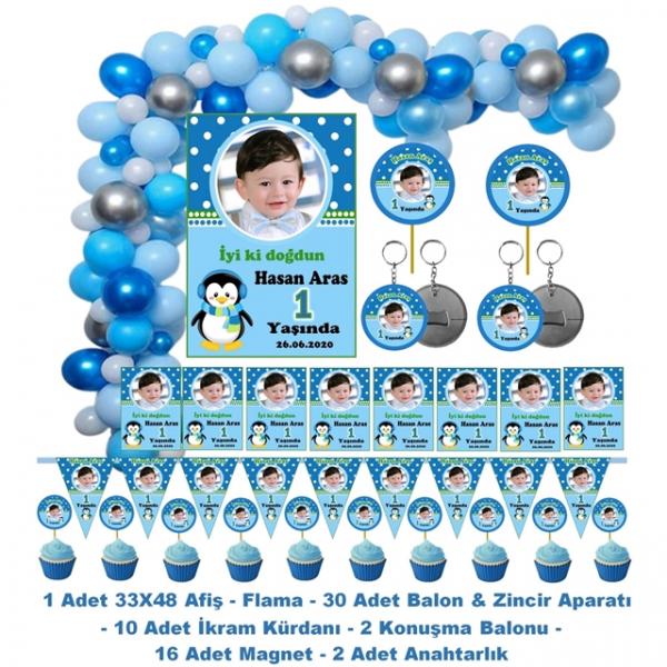 Penguen Doğum Günü Parti Seti Kişiye Özel Fotoğraflı Hediye Penguen Doğum Günü Parti Seti Kişiye Özel Fotoğraflı Hediye