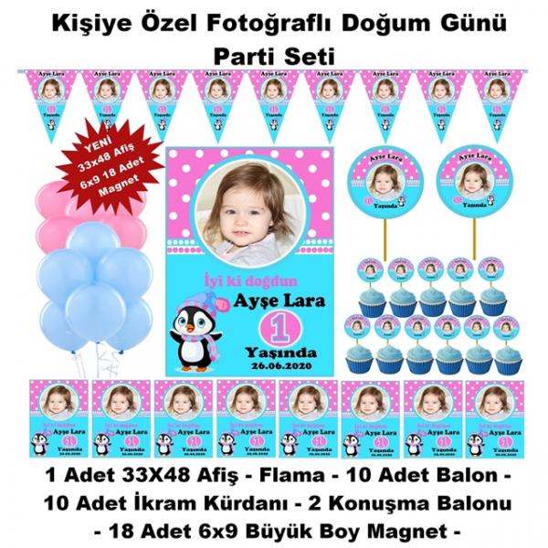 Penguen Doğum Günü Parti Seti Kişiye Özel Hediye Seti (33x48 Afiş-Flama-6x9 18 Magnet)