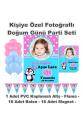 Penguen Temalı Doğum Günü Parti Seti Kişiye Özel Fotoğraflı Hediye