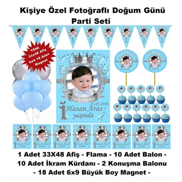 Prens Doğum Günü Parti Seti Kişiye Özel Hediye Seti (33x48 Afiş-Flama-6x9 18 Magnet)  Prens Doğum Günü Parti Seti Kişiye Özel Hediye Seti (33x48 Afiş-Flama-6x9 18 Magnet)