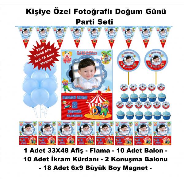 Sirk Temalı Doğum Günü Parti Seti Kişiye Özel Hediye Seti (33x48 Afiş-Flama-6x9 18 Magnet)  Sirk Temalı Doğum Günü Parti Seti Kişiye Özel Hediye Seti (33x48 Afiş-Flama-6x9 18 Magnet)