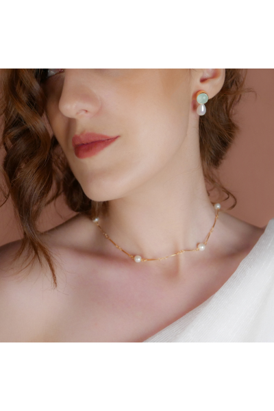 Stelart Jewelry Bacchus Küpe | Yeşim Taşı | 925 Gümüş | 18 Ayar Altın Kaplama