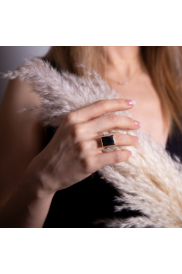 Stelart Jewelry Dual Yüzük   Onyx   18 Ayar Altın Kaplama