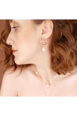 Stelart Jewelry Circle Halka Küpe | Beyaz İnci | 925 Gümüş | 18 Ayar Altın Kaplama