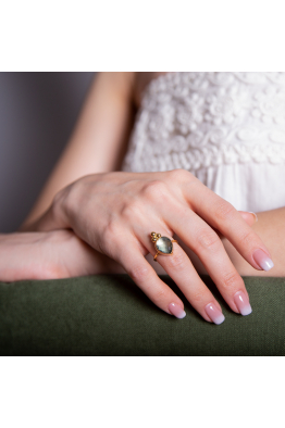 Stelart Jewelry Bacchus Yüzük | Smokey Quartz | 925 Gümüş | 18 Ayar Altın Kaplama
