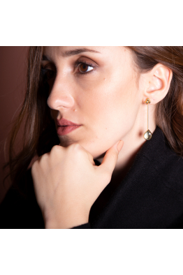 Stelart Jewelry Bacchus Küpe | Smokey Quartz | 18 Ayar Altın Kaplama