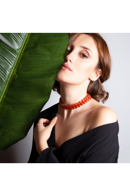 Stelart Jewelry Turuncu Akik Taşlı Choker Kolye | 18 Ayar Altın Kaplama