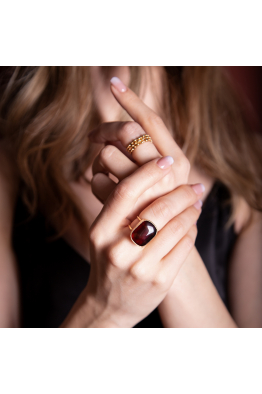 Stelart Jewelry Antique Yüzük | Kahverengi Akik | 18 Ayar Altın Kaplama