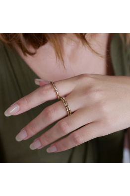 Stelart Jewelry Antique İkili Yüzük | 18 Ayar Altın Kaplama