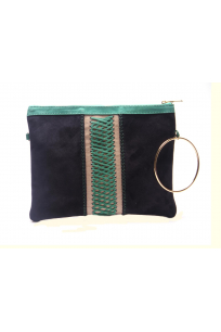 lacivert yeşil örgü çanta
