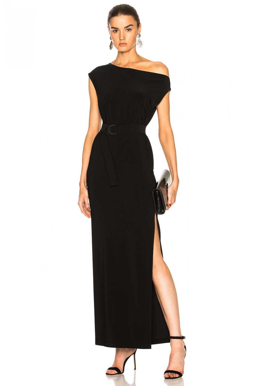 dd69187225796 by UMUT Design İpek Jarse Düşük Omuz Yırtmaçlı Elbise - UMUT
