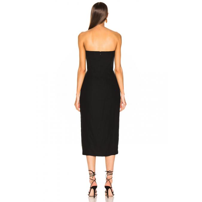 2fa561f3fa0f2 by UMUT Design Önden Yırtmaçlı Straplez Elbise - UMUT