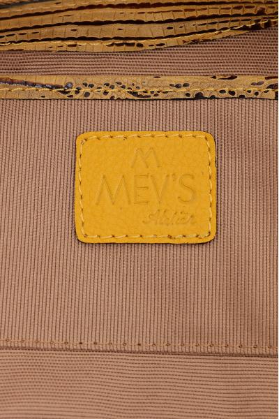 Ephron Hakiki Deri Baget Çanta Kroko Baskı Sarı