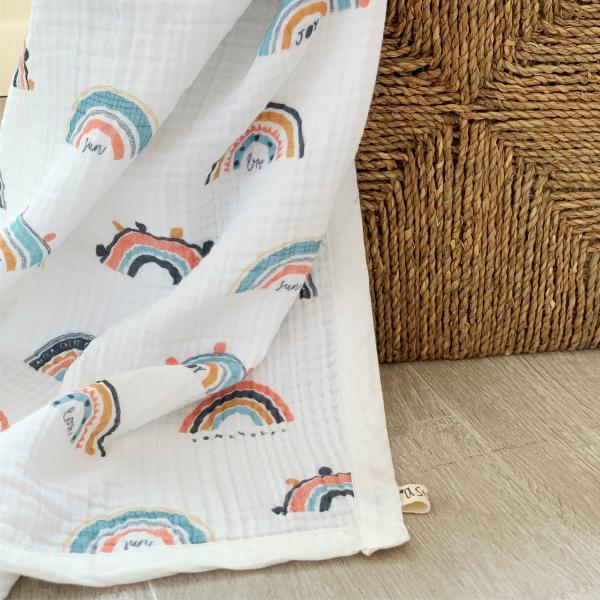 Rainbow Organik 4 Kat Müslin Battaniye