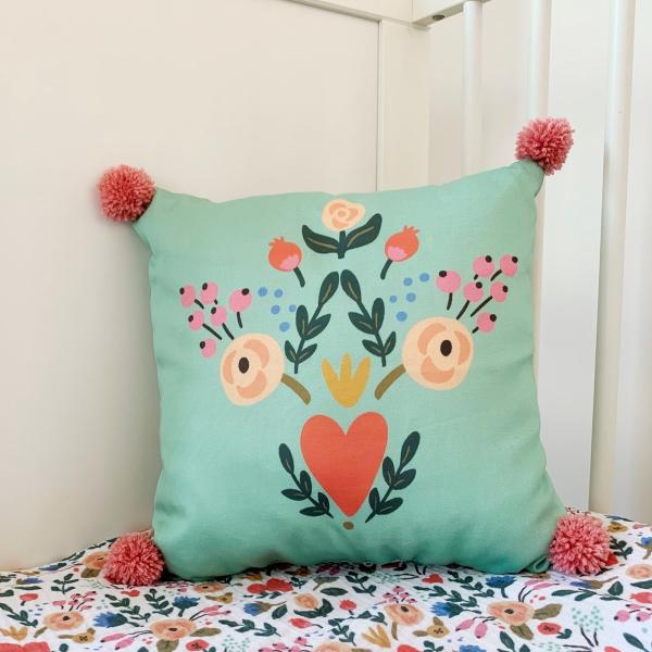 Asu Baby&Kids Floral Organik Pamuk Kırlent- Dolgulu