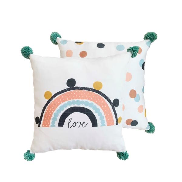 Asu Baby&Kids Rainbow Organik Pamuk Kırlent- Dolgulu 2'li