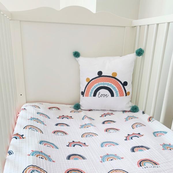 Asu Baby&Kids Rainbow Organik Pamuk Kırlent & 4 Kat Müslin Battaniye