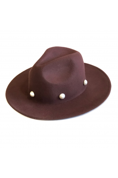 BROWN PEARL FEDORA