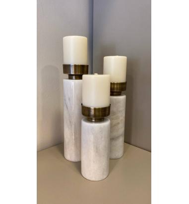 Mei Design Voila Beyaz Mermer Şamdan - Üçlü Takım