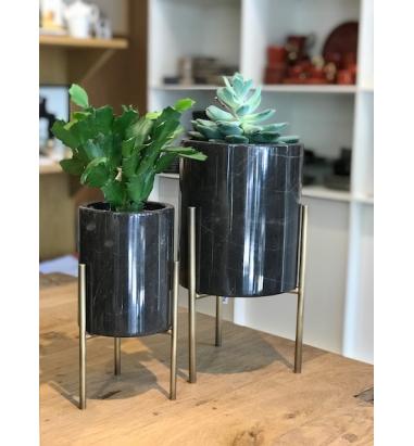 Mei Design Edi - Siyah Mermer Saksı - Küçük