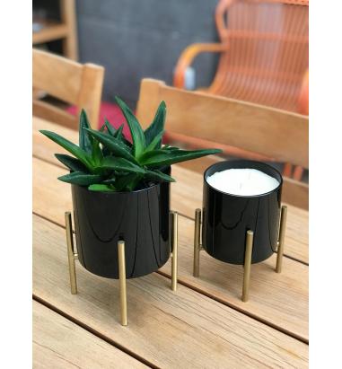Mei Design Pirinç Ayaklı Cam Mumluk - Küçük boy