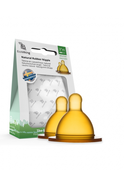 Doğal Kauçuk Biberon Emziği Yuvarlak 2'li Paket YENİ Ergonomik Biberon Uyumlu - 3+ Aylık