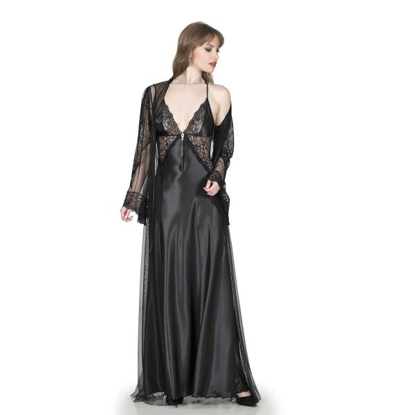 For Dreams Kadın Siyah Uzun Gecelik Sabahlık Takım - RNL-FRDRMS4941 For Dreams Kadın Siyah Uzun Gecelik Sabahlık Takım - RNL-FRDRMS4941
