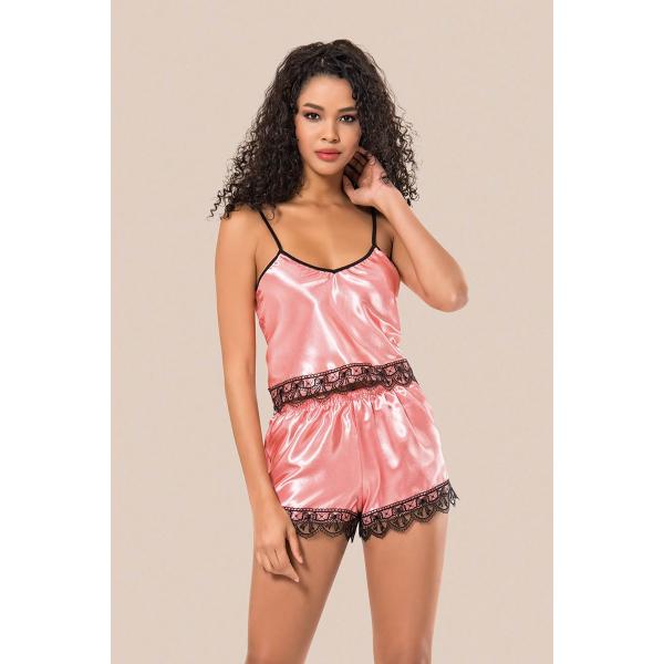 Kadın Pembe Saten Şortlu Pijama Takım - RNLMNG1206 Kadın Pembe Saten Şortlu Pijama Takım - RNLMNG1206