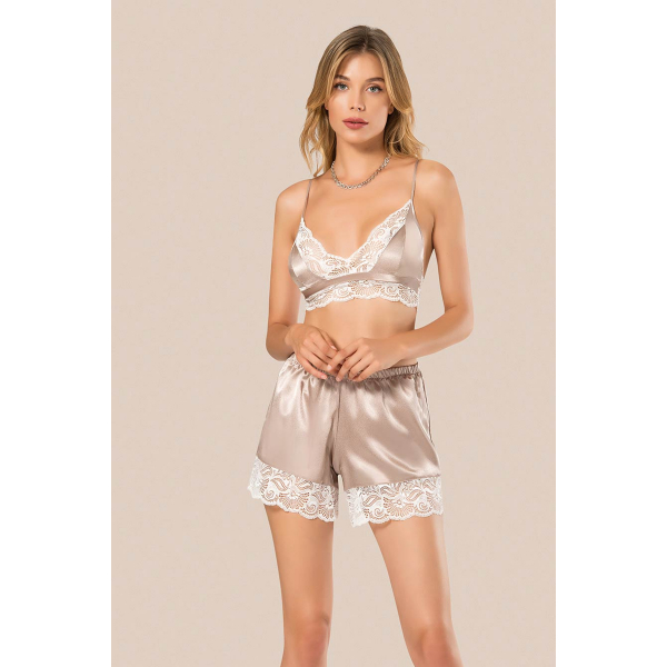 Kadın Saten Şortlu Pijama Takım - RNLMNG035 Kadın Saten Şortlu Pijama Takım - RNLMNG035