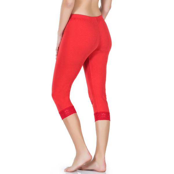 Paçası Dantelli Kısa Kırmızı Kadın Tayt - RNLDRY414RED Paçası Dantelli Kısa Kırmızı Kadın Tayt - RNLDRY414RED