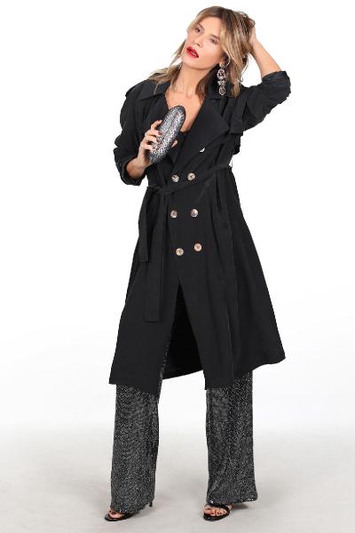 CATHERINE SILK BLACK TRENCH COAT CATHERINE SILK BLACK TRENCH COAT